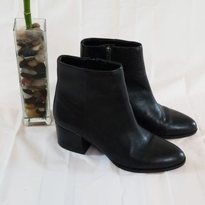 Sam Edleman black leather heeled ankle booties